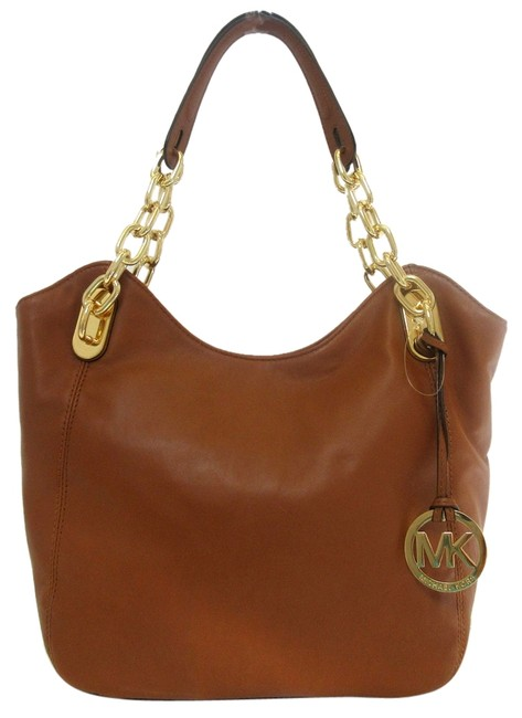 Item - Lilly Brown Walnut Gold Lambskin Leather Tote