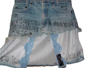 Skirt Blue Lace Slip and Jean Mini
