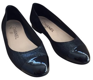 Chanel Ballet Patent Leather Classic Black Flats