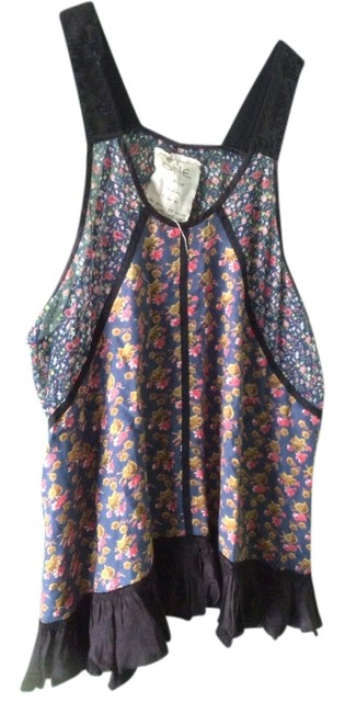 Free People short dress Navy floral Bohemian Floral on Tradesy