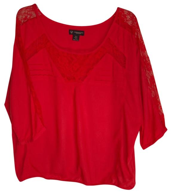 American Eagle Outfitters Lace Trim Top Coral