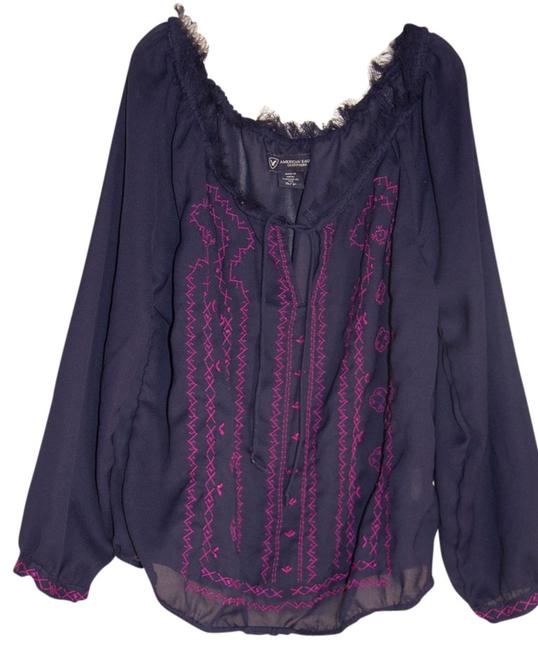 American Eagle Outfitters Top Navy Blue/Pink