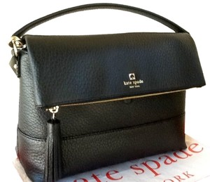 Kate Spade Southport Avenue Maria Medium Genuine Pebbled Leather Gold Tone Hardware Name Inscripted In Gold Magnetic Snap Closure Satchel in Black