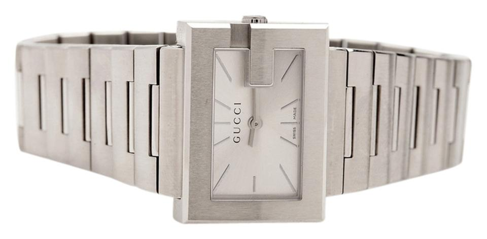 b5e835b050c Gucci Stainless Steel Ya100520 G-rectangle Silver G Frame Series Rare Watch