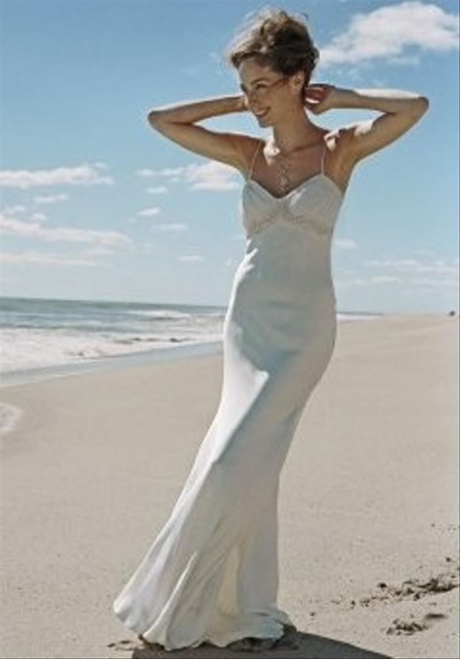 Nicole miller ribbon embroidered bridal gown size 6 1400 for Nicole miller beach wedding dress