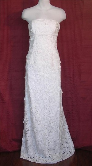 Nicole Miller Antique White Silk - Blended Vintage Embellished Bridal Gown Gh0007 Formal Wedding Dress Size 2 (XS)