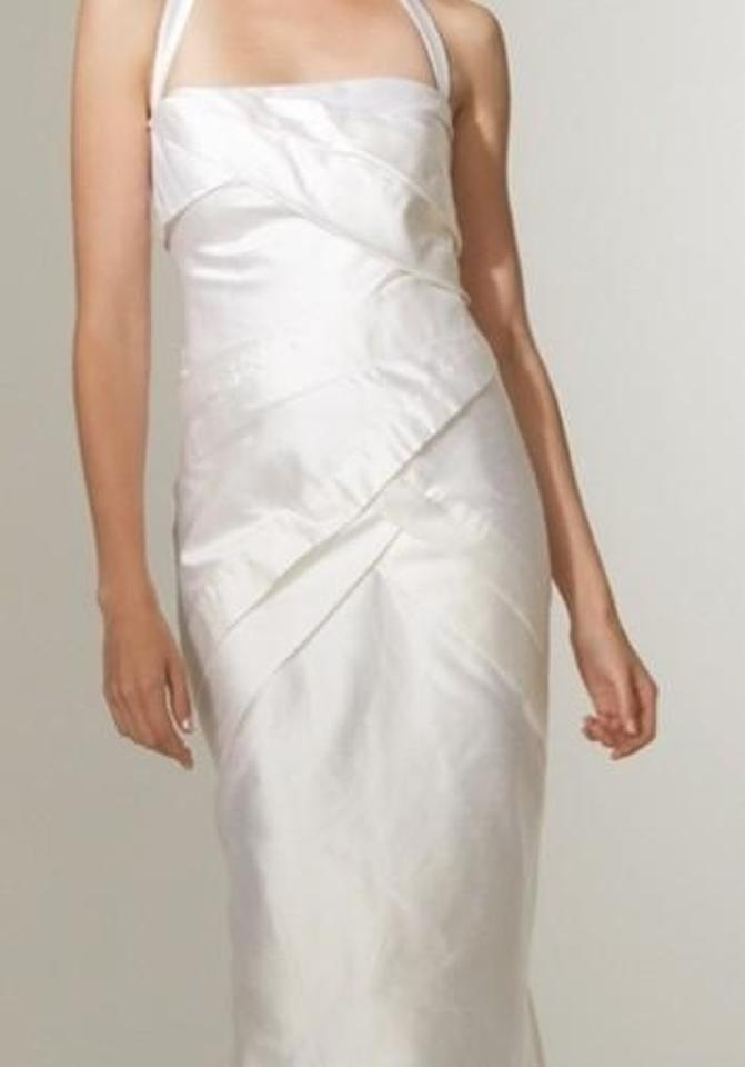 Nicole Miller Antique White Silk Dupioni Origami Pleated Bridal Gown Gq0004 Formal Wedding Dress Size 12 L 61 Off Retail