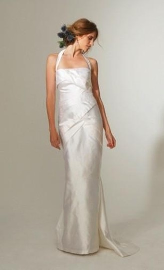 Nicole Miller Antique White Silk Dupioni Origami Pleated Bridal Gown Gq0004 Formal Wedding Dress Size 12 (L)