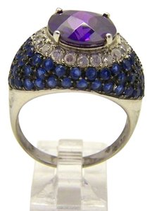 Dome RING Sterling Silver .925 Purple Blue Gemstones size 10 10.3 grams