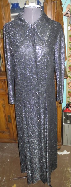 Unknown Vintage Metallic Full Length Open Front Dress