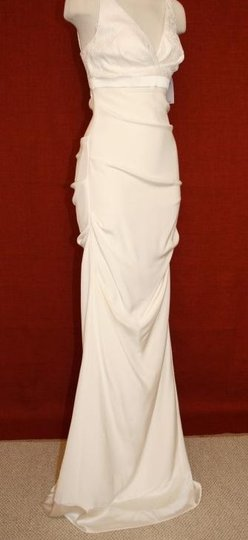 Nicole Miller Antique White Silk Vneck Crepe Bridal Gown Gs0005 Formal Dress Size 6 (S)