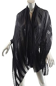 Designers Originals Black Silk Satin/Chiffon Striped Pleated Scarf/Shawl/Wrap - 70