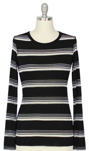 Bailey 44 44 Sheer Top Black & Silver stripes