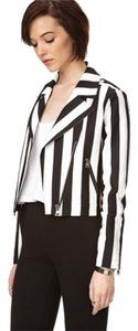 Other Moto Striped Striped Moto Casual Moto Color Block Black And White Black And White Double Breasted Croped Motorcycle Jacket
