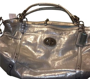 Coach Satchel in Silver Platinum