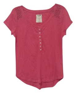 Gilly Hicks Casual Buttons Lace Flowy Loose T Shirt Pink