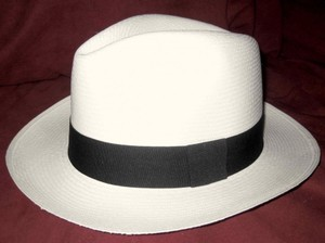 White New Panama Fedora Hat (58 Cm) Men's Jewelry/Accessory
