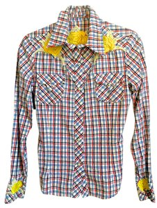 Vans Flyin' Goose Western Shirt Button Down Shirt white w/multi colored stripes