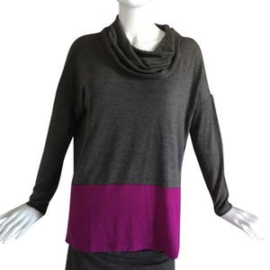 Neiman Marcus Black Long Sleeves Color-blocking Color Block Cowl Neck Cowl Sweater
