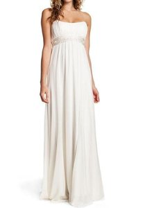 Nicole Miller Antique White Silk Beaded Bridal Gown Ja0005 Maternity Optional Formal Wedding Dress Size 2 (XS)