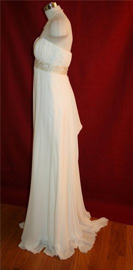Nicole Miller Antique White Silk Beaded Bridal Gown Ja0005 Maternity Optional Formal Wedding Dress Size 6 (S)
