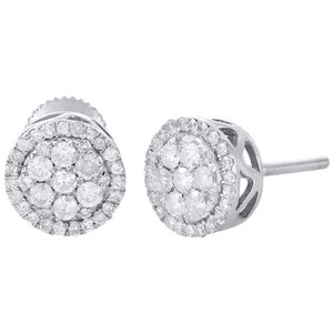 10k White Gold Round Diamond Earrings Flower Cluster Prong Set Halo Stud 1 Ct.