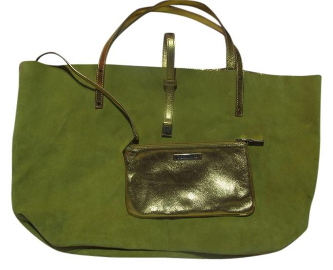 Item - Reversible Green and Gold Suede Leather Tote