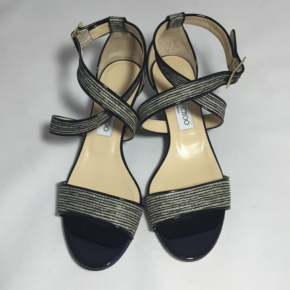 938708c921f9 Jimmy Choo Black   Natural Chiara Glitter Demi-wedge 39 Sandals Size US 8.5  Regular (M