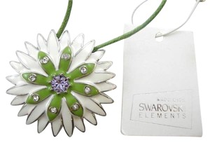 Enamel Flower Large Pendant Brooch with Swarovski Elements NWT