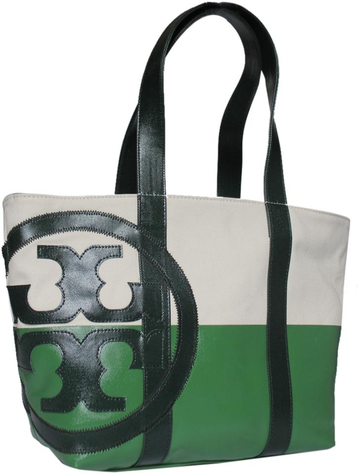 f456851337f Tory Burch With Tags Small Beach Shoulder Natural Peapod Jitney Green  Canvas Dipped Canvas Tote
