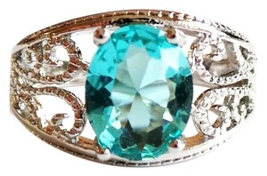 Swiss Blue Topaz Solitaire 925 Sterling Silver Filigree Ring 5.5
