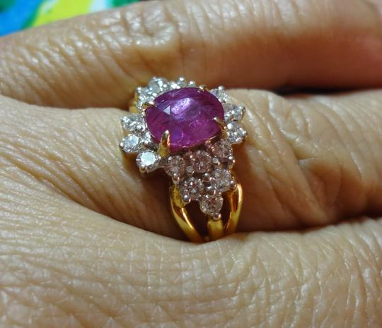 ESTATE SALE GORGEOUS ESTATE 3.07 CT NATURAL UNTREATED RUBY & DIAMOND 22K GOLD RING