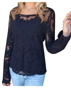 Black lace long sleeved shirt Top Black lace