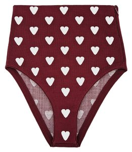 Burberry Burgundy High-waisted Jacquard Heart Print Briefs