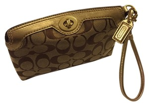 Coach Wristlet in Tan & Gold