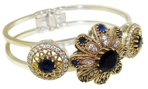 Other Large Sapphire and Topaz 925 Sterling Silver Cuff Bracelet