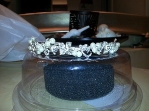 David's Bridal Crystal and White Pearls Head Piece/Band Tiara