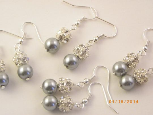 Gray 5 Pairs Bridesmaid Pairs Pearl and Rhinestone Bridesmaid Pearl Pearl and Crystal Earrings