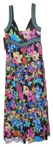 Black with Multi-colores Flowers Maxi Dress by Jones New York