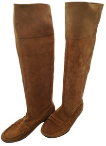Italian Knee Boot Chestnut Suede Boots