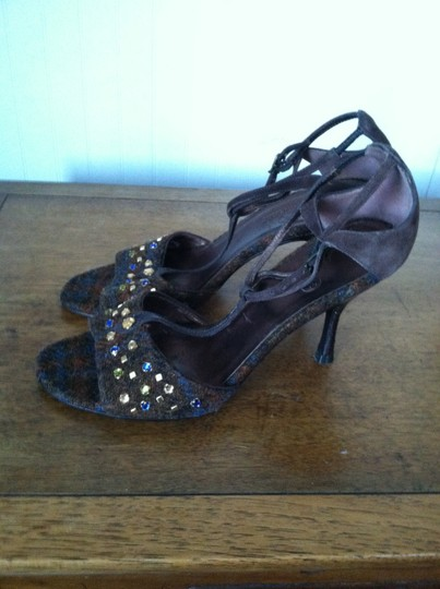 Cole Haan Heels Wool Crocodile Print And Suede Nwot Never Worn Classic Timeless BROWN PLAID Sandals