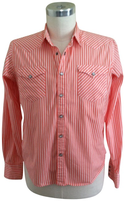 Ralph Lauren Blue Label Classic Heritage Western Salmon Fitted Snap Front Mother Of Pearl Button Down Shirt ORANGE STRIPED