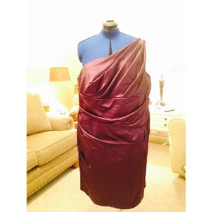 David's Bridal Plum Polyester One Shoulder Formal Bridesmaid/Mob Dress Size 24 (Plus 2x)