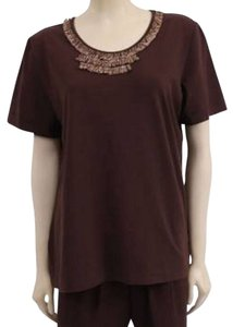 Alfred Angelo Knit Embroidered Embellished T Shirt Brown
