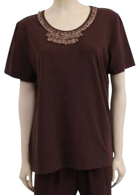 Alfred Angelo Knit Embroidered Embellished Scoop-neck T Shirt Brown