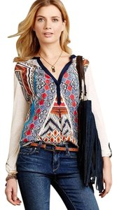 Anthropologie Orion Henley Pretty Top Print