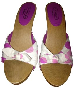Coach Pink Polka Dot Canvas Mules