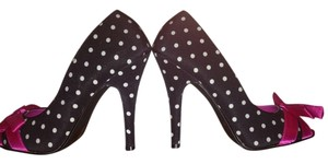 Penthouse by Ellie Shoes Black and White Polka Dot Pumps