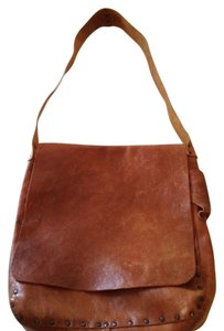CYDWOQ Unisex Distressed Leather Brown Messenger Bag