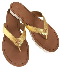Coach Thong Slippers Slides Gold Flats